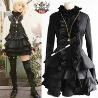 Gothic Punk LOLITA MANA EGL Mourn BLACK Tux Ruff DRESS