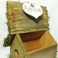 Wedding Advice Box Birdhouse - Rustic Wedding, Barn Wedding, Burlap Wedding Country Wedding Decor