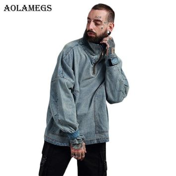 Trendy Aolamegs Denim Jacket Men Hanging Shoulder OVERSIZE Cowboy Casual Men's Jacket High Street Fashion Stand Collar Outwear Men Coat AT_94_13