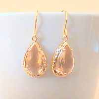 Peach Gold Drop Earrings, Peach Earrings, Framed Glass Crystal, Pink Long Teardrop, Bridesmaid Gift, Bridal Jewelry by Crystalshadow on etsy