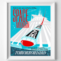 Vintage Disneyland, Poster, Print, Space Mountain, Disney, Tomorrowland, Fantasyland, Reproduction, Restored, Restoration, Vintage [No 1281]