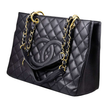 Chanel Black Caviar GST Grand Shopping Tote Handbag