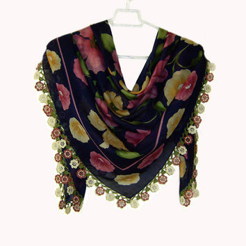 Traditional Turkish Yemeni Rayon (artificial silk) Scarf With Crocheted Lace, Navy Blue / Pink / Yellow / Green Floral Pattern