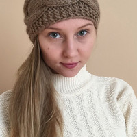 Knit Headband Ear Warmer • Taupe Brown • Handknit Wool Blend Yarn • Wide Headband •