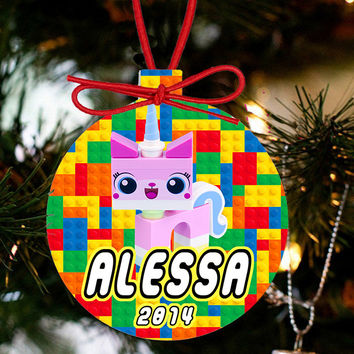 Personalized Christmas LEGO Ornament - Lego Movie Character UniKitty