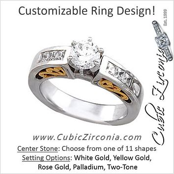 Cubic Zirconia Engagement Ring- The Lindsey (Customizable 7-stone Two-Tone Cathedral with Princess Channel)