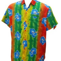 La Leela Multicolor Floral Printed Likre Beach Hawaiian Shirt For Men