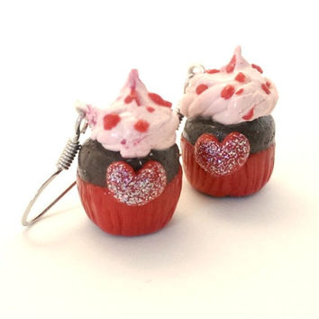 Heart cupcake earrings, cupcake heart earrings, polymer clay cupcake