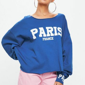 Missguided - Blue Paris Slogan Boxy Sweatshirt