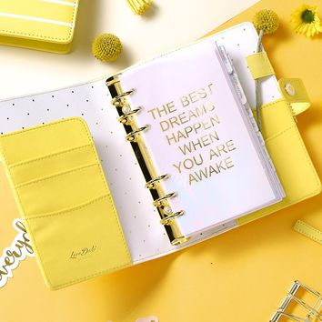 Dokibook Lovedoki new agenda 2018 freeshipping notebook A5 A6 planner kawaii diary cute school stationary spring stripe Yellow