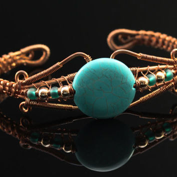 Copper Turquoise Bracelet, Cuff, Wire Wrap Jewelry