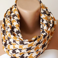 Infinity Scarf Loop Scarf Circle Scarf Cowl Scarf Soft  handmade from cream, saffron and brown linen