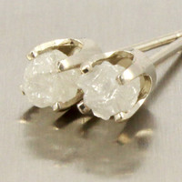 Rough Diamonds in 14K White Gold Earrings - Natural Unfinished Raw Stones - White Diamonds - Gold Post Earrings