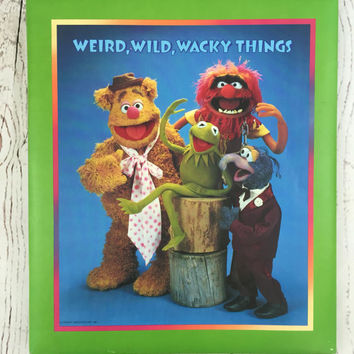 Vintage 1981 Muppets Scrapbook, Hallmark Muppets Photo Album, Weird Wild Wacky Things Scrapbook, Photo Album by Jim Henson, Muppets Album
