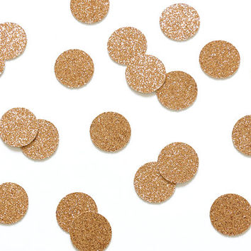 """100 Rose Gold Glitter 1"""" Circle Confetti - Wedding Decorations, Engagement, Baby Shower, Bachelorette Party, Bridal Decor, Table Decorations"""