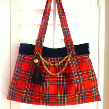 red tartan Stewart plaid wool boho bag, hobo bag, gypsy bag, bohemian bag, vintage fabric, Christmas, winter wedding, Christmas wedding