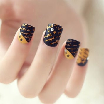 24 PCS Black Rhinestoned Letters and Stars Pattern Nail Art