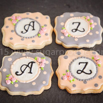 Monogram Handmade Decorated Cookies (1 Dozen);
