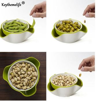 Keythemelife Tableware Fruit Tray bowl holder dish 2 In 1 Candy Snack Nut Holder Compote Decoration Plate Dinnerware E3