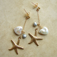 SALE- Beach Wedding Earrings. Starfish and Pearls. 14K Gold Filled Chain. Bridesmaid Gift