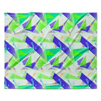 "Alison Coxon ""Confetti Triangles Blue"" Green Teal Fleece Throw Blanket"