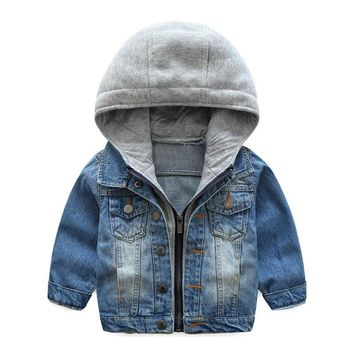 Trendy Kids Boys Jeans Jacket Long Sleeve Hoody Autumn Coat Denim Spring Boy's Outerwear Hooded Coat Fashion New Children Clothes AT_94_13