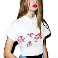 Joyrich Sunset Wallflower Cropped Polo Shirt Off White/Red