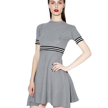 Short Sleeve Striped Ruched Mini Dress