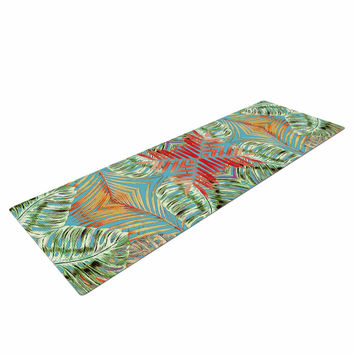 "Alison Coxon ""Summer Jungle Love Blue "" Red Aqua Yoga Mat"