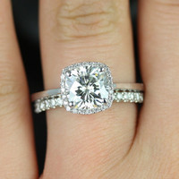 Bella Sweetheart Size 14kt White Gold Thin FB Moissanite and Diamond Cushion Halo Wedding Set (Other metals and stone options available)