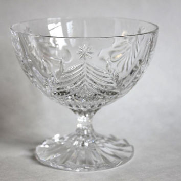Mikasa Clear Cut Lead Crystal Christmas Tree Stem Footed Dessert Bowl, Vintage Holiday Candy Dish