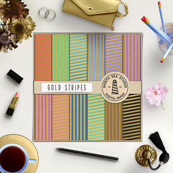 Gold Stripes Digital Paper Gold Foil Paper Gold Striped 12x12 Scrapbook Paper Gold Stripe Texture Colorful Kraft Paper Commercial Use