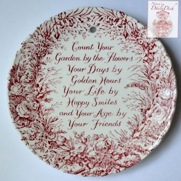 Red Transferware English Garden Friendship Plaque English Ironstone  - Friend Poem - Roses