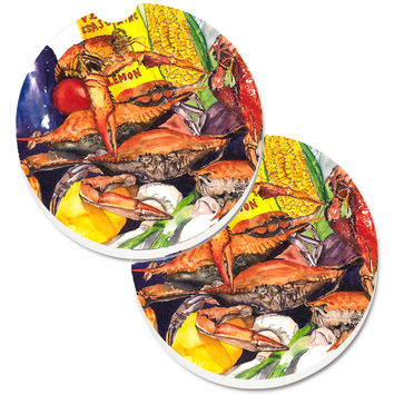 Veron's and Crabs Set of 2 Cup Holder Car Coasters 1016CARC