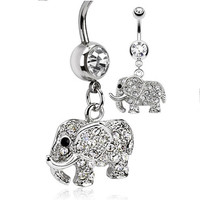 Elephant Belly Ring 316l Surgical Stainless Steel with Clear Cz Stones 14g (1.6mm) (1 Piece) Nickle Free