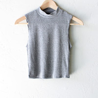 Sleeveless Mock Neck Crop Top - Grey