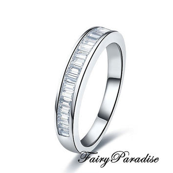 Total 1 ct Emerald cut lab made diamonds Channel-set Half Eternity Wedding Band / Anniversary Ring - made to order ( FairyParadise )