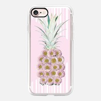 Floral Pineapple Stripes Pink iPhone 7 Case by Lisa Argyropoulos | Casetify