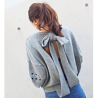 Backless Hollow-Out Bowknot Knitting Sweater