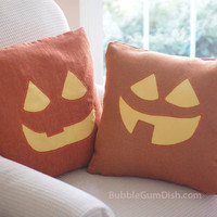 Jack o Lantern Pillow Cover TABITHA Pumpkin Cute Halloween Decor 18 x 18