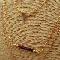 Beautiful 3 layers gold plated necklace, gold circle and triangle charms with beads plaque.