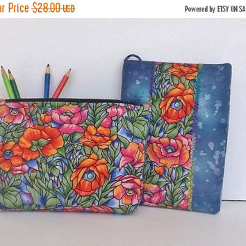 ON SALE Covered Notebook Zippered Pouch Set Mothers Day Gift Drawing Doodling Sketching Handmade Travel Set Birthday Graduation Gift For Her