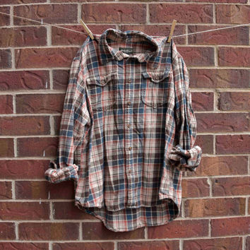 XLarge Vintage Flannel Plaid Button Down, Blue Orange Cream and Brown Plaid, Not Mystery Flannel