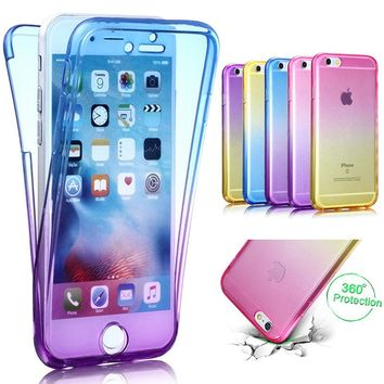 360 Degree Full Body TPU Anti-Shock Phone Case For iPhone 5S 6 6S 7 8 Plus 7Plus 8Plus 5 Gradient Color Clear Front & Back Cover