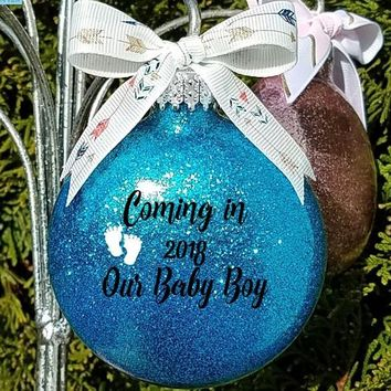 Personalized Adoption Gift - Coming Soon our Baby Boy Girl Custom Name Christmas Gift for Couple Glitter Ornament comes in a Gift Box