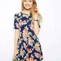 ASOS Skater Dress In Pretty Floral Print