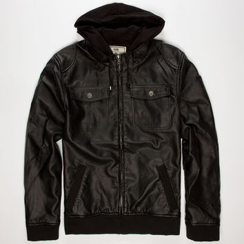 Chor Creep Mens Hooded Faux Leather Jacket Black  In Sizes