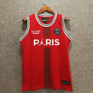 PSG Paris Saint-Germain F.C. X Air Jordan Basketball Jerseys Red