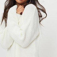 Rexx Cream Round Neck Side Split Jumper