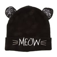 Katy Perry Meow Black Knit with Lace Ears Beanie